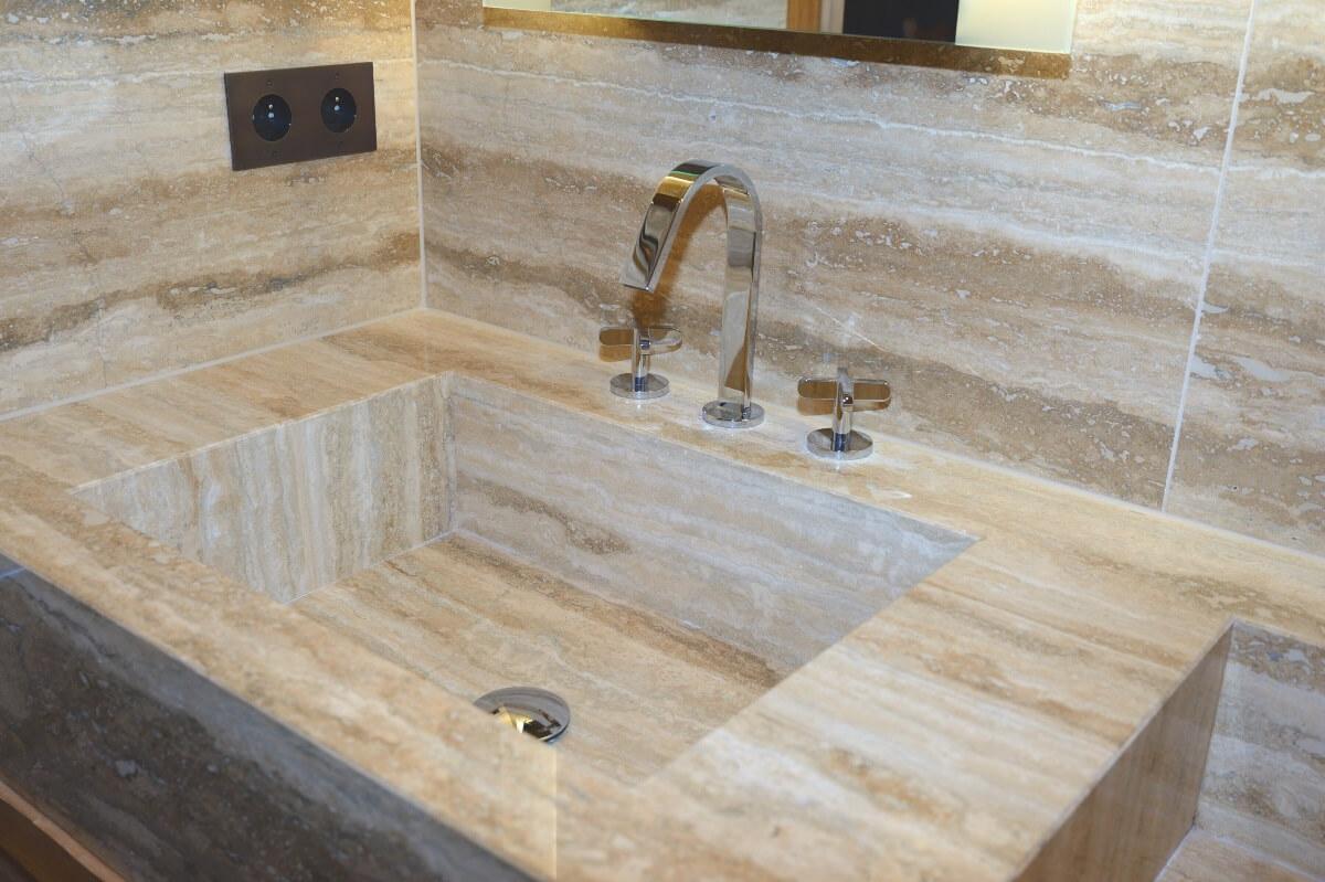 Plan Vasque Sur Mesure salle de bain total look pierre - capri