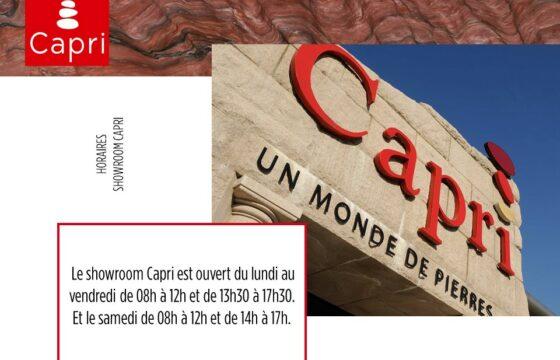 Nouveaux horaires showroom Capri