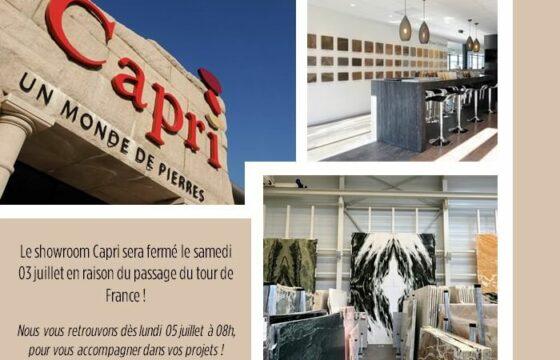 Fermeture showroom Capri 03 juillet !